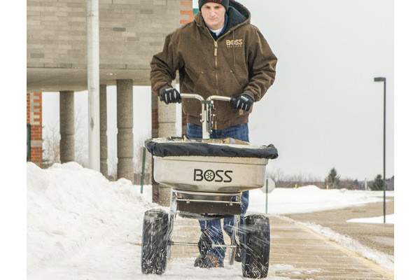 Boss Snowplow | Ice Control Equipment | Stainless Steel Walk Behind Spreader    for sale at Rippeon Equipment Co., Maryland